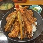 天ぷら 筧 - 上天丼(穴子、海老2、アジ、ナス、ピーマン)
