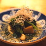 高太郎 - お通し (静岡産無農薬野菜と国産大豆のおひたし)