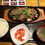 48280675 - 牛タンネギ鉄板焼きセット(キムチ、ライス、スープ付き)