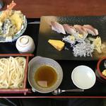 そうま - 「鯛のにぎりとこぼれしらす軍艦(天ぷら・茶碗蒸し・うどん付き)」1480円