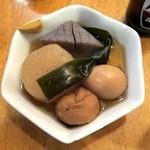 多古菊 - おでん盛合せ(5品)¥650 大根、玉子、こんにゃく、昆布、がんも