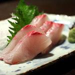 和食処 まる - しまあじのお造り1,000円