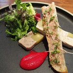 48309479 - ランチコース 4320円 の鳥取県産ドングリ黒豚とサツマイモのモザイクテリーヌ ビマンエスプレット風味