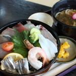 道の駅 阿久根 - 海鮮丼セット(小うどん)