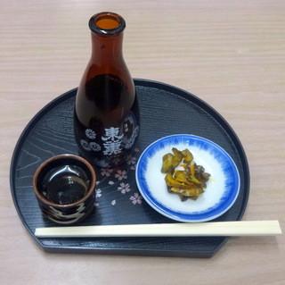 寿々木家 - ほろ酔いセット1,300円その1.東薫熱燗とキュウリのキューちゃん