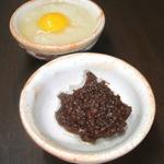 纏 - 鳥味噌と大根おろし(お通し)