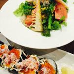 48344211 - 菜の花と筍のタルタルサラダ&かにといくらがこぼれんばかりの寿司