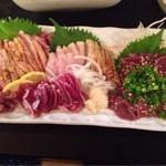 心菜坊 - 料理写真:鶏刺盛り合わせ+地鶏肝刺