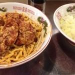 デブソバリパブリック - ハイパー汁なしタンタン麺大盛り唐揚げ付き 追い飯無料、生卵サービス 1030円