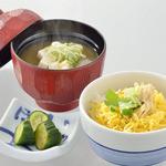 八かく庵 - 湯葉の有馬煮と錦糸玉子のご飯 京都本田味噌使用の味噌汁 香の物 豆乳アイス