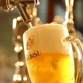 ビヤホールの生ビールを和食でたのしめます!
