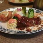 レストラン 精養軒 - タンシチューとカニクリームコロッケ(ライス付)