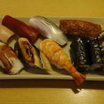 おひげ寿司 - ランチタイムのにぎり寿司一人前