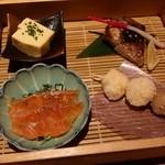 48395074 - 豆乳玉子豆腐、ブリの塩焼き?、八海山マス、海老しんじょうと里芋揚げ
