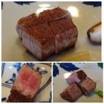 48402768 - ◆上最初に2/3量のお肉を。焼き加減は「ミディアムレア」で。。                       この日のお肉は柔らかいのは勿論ですが、上質な旨みを感じて美味しいこと。                       右下:残りのステーキ。