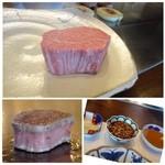 室 - ◆お肉は佐賀牛・・サーロインまたはフィレからア選べますのでフィレを。写真は二人分。 「塩」「タレ」「ポン酢」で頂きます。