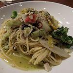 カネ保水産 - は白身魚のラグーと三浦野菜の大葉風味スパゲッティ