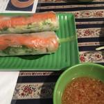 48418027 - 魚の生春巻き。生姜たっぷりのタレが美味でした