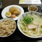 手打ちうどん 妹尾 - たこ飯定食780円