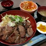 48437597 - 炭火焼 ヘルシー ラム丼 750円 (税込) ご飯大盛り無料