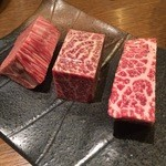 Katougyuunikutenshibutsuu - 赤身3種盛り合わせ トモサンカク・カメノコ・シンシン