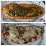 ブルージャム - ◆バジルガーリックフランス(200円)・・ガーリックは少な目でした。フランスパンは、ハード系。 ◆下:キノコとバジルのタルティーヌ・・見た目はすごく美味しそうだったのですけれど。