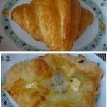 ブルージャム - ◆上:クロワッサン(172円)・・小さ目ですね。普通だそう ◆下:クワトロチーズピザ(250円)・・4種のチーズを使用されています。