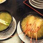 金太郎寿し - あおさ汁・えび汁