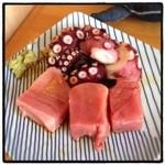 魚寅 - 2016年2月28日 今日はトロの割合多いかも( ^ω^ ) タコぶつ300円、マグロ270円。