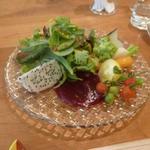 エスパイ クック コウベ - サラダ;ベビーリーフ、アイスプラント、白雪トマト、マイクロトマト、黒皮大根、蕪、ベビーキャロット、スナップ、ドラゴンフルーツ、ロマネスコ、ビーツソース添え