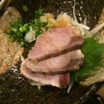 炭焼と釜飯 さかぐち - ブリ塩タタキ(食べかけ)
