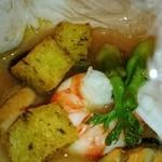 エノテーカ ピンキオーリ - 海老、小ヤリイカ、ムール貝の包み焼きとポレンタ