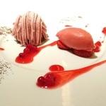 48546514 - 苺のソルベとモンブラン