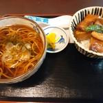 レストラン 四季の恵 - ぜいたくホエー豚丼&温そばのセット