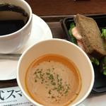 上島珈琲店 - 海老アボカドサンドのセット¥970