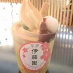 48573923 - 抹茶×ほうじ茶ソフト。