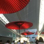48576627 - 赤い蛇の目傘がシンボル