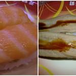 元禄寿司 - サーモンと穴子です♪