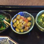 48596986 - 小松菜のお浸し、五目豆、カリフラワーのマリネ