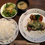 彩美亭 - 昼のランチ ローズポークチーズ焼き