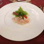 48615117 - 魚料理                       「白身魚のポワレ  海老と野菜添え  ブールブランソース」