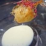cork - アンコウのガダイフ包み       瀬戸内レモンクリームソース