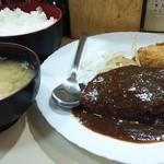 藤かつ - 日替わりの煮込みハンバーグとミートコロッケ 720円