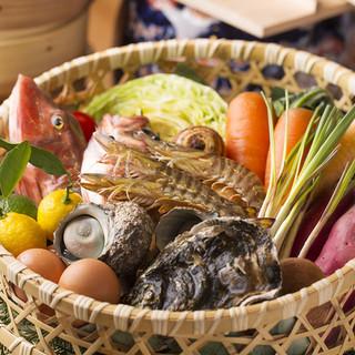 ■朝採れの新鮮な魚介類・旬の野菜を直送■