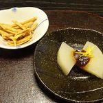 48635311 - 揚げ蕎麦ステックと前菜のふろふき大根