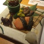48649701 - 北陸珍味盛合せ ¥1,500 ごり佃煮→鯖へしこ→塩引き鮭→ほたるいか味醂干し