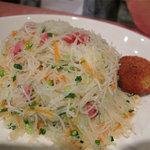 スリランカ料理 POLPOL - ヌードルセットの内容:チキンカリー・ポテトカリー・カトレット・スリランカ風焼きビーフン