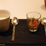 48674439 - アミューズ ブーシュ                        菊芋のスープトリュフの香り、サーモンマリネとムース