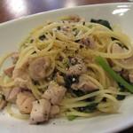 トラットリアイルティレーノ - 鶏モモ肉と春菊のスパゲッティ