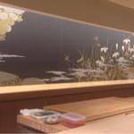 龍月  SUSHI - カウンターから覗く板場